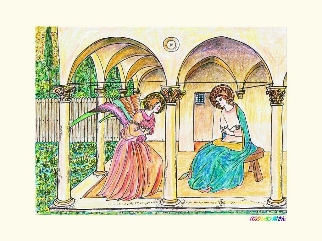 フラ アンジェリコの大天使ガブリエルの壁紙ー名画の大人の塗り絵