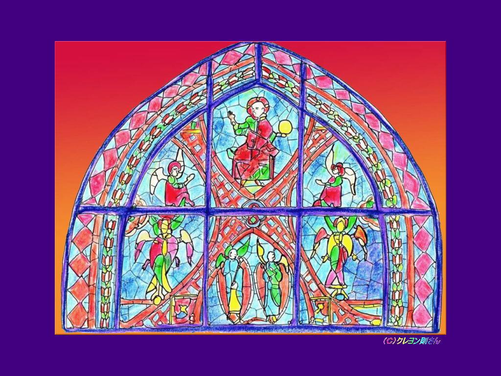 シャルトル大聖堂のステンドグラスの壁紙 ステンドグラスのぬりえ
