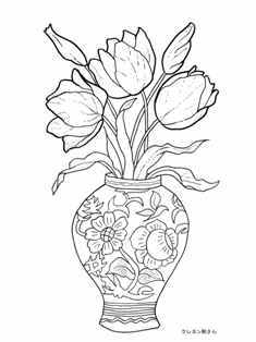 イラスト 塗り絵 イラスト : 花瓶のチューリップの下絵
